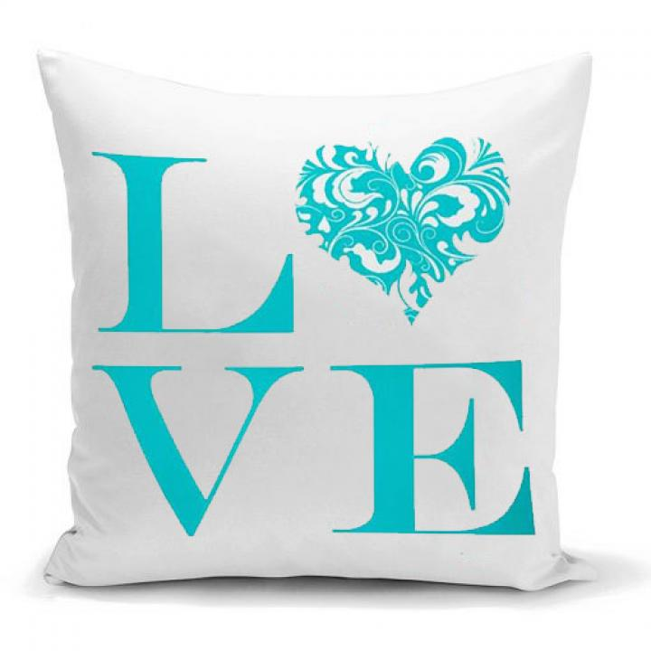 Love Blue Home Kissen